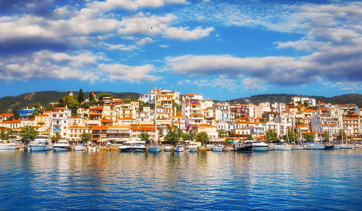 Panoramic view of Skiathos Town at sunrise